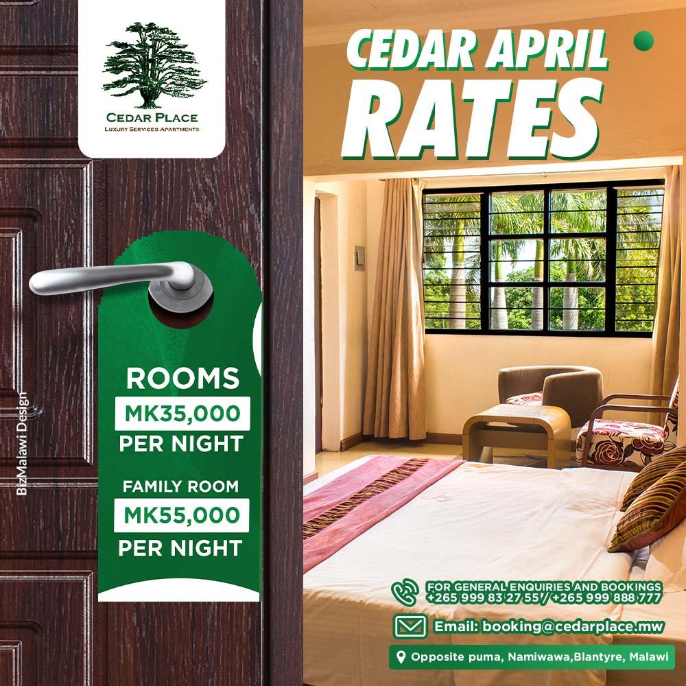 Advertisement - CEDAR PLACE APRIL RATES