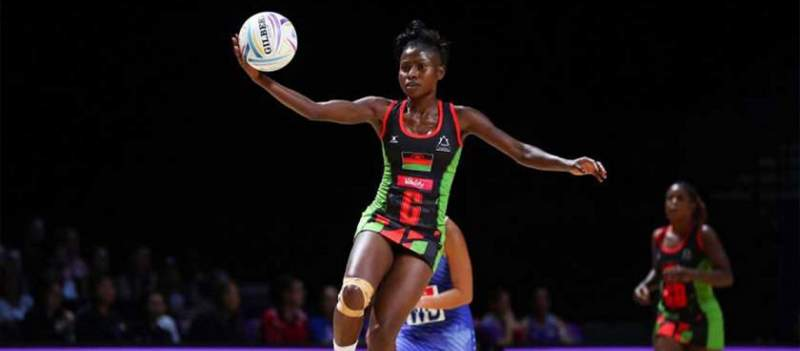 Takondwa Lwazi in the national team colors at the 2019 Africa Netball Championship