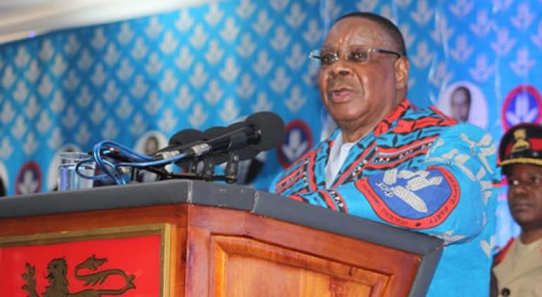 Mutharika during his party's convention ahead of 2019 elections