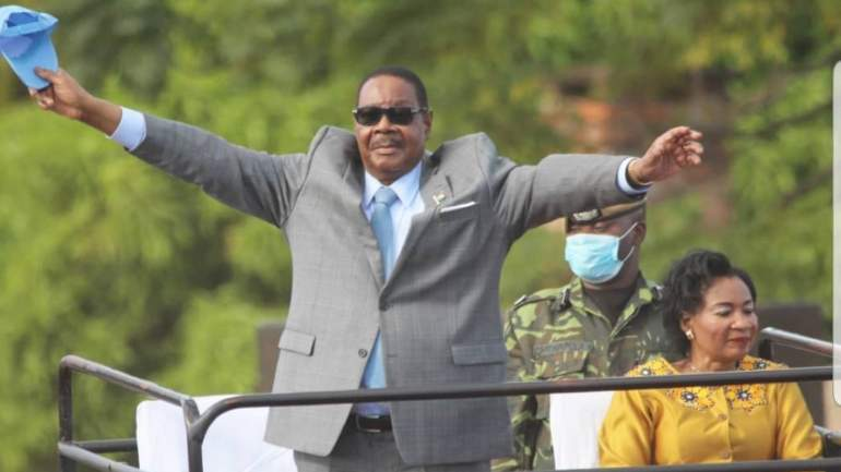 Mutharika during the campaign whistle stops in Thyolo