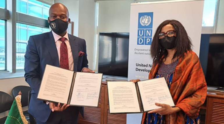 AfCFTA Secretary General, H.E. Mr. Wamkele Mene sealing strategic partnership with the UN Development Programme (UNDP) on 29 March in New York