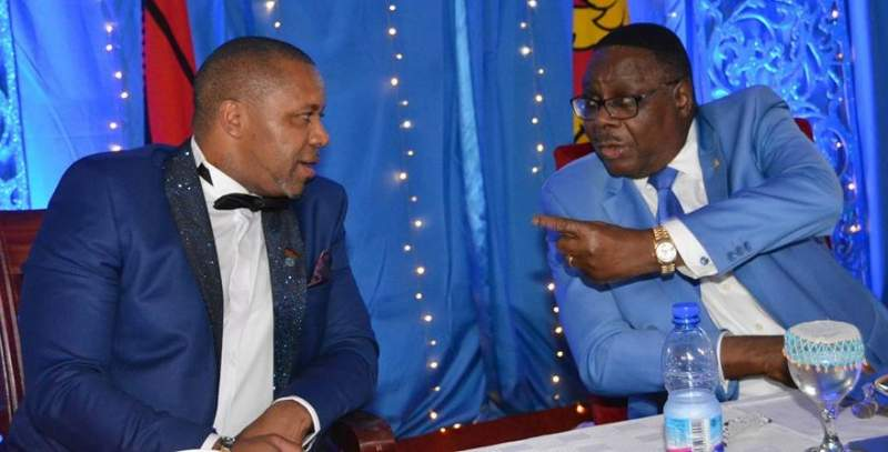 Former president Peter Mutharika (right) and his vice Saulos Chilima during the fundraiser