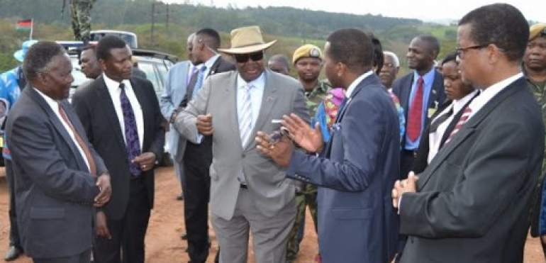 President Peter Mutharika (in hat) during ground breaking ceremony for the road project