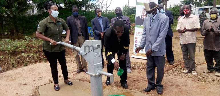 The newly commissioned borehole at Kam'bebe village in Ntcheu