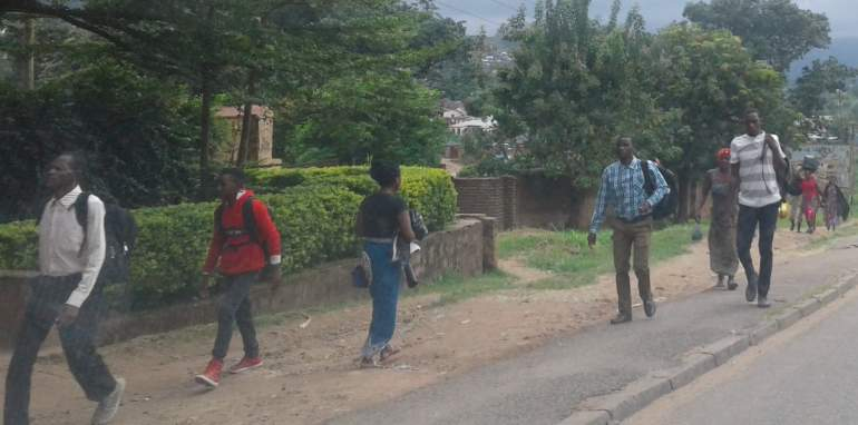 Bangwe commuters walking to their respective destinations