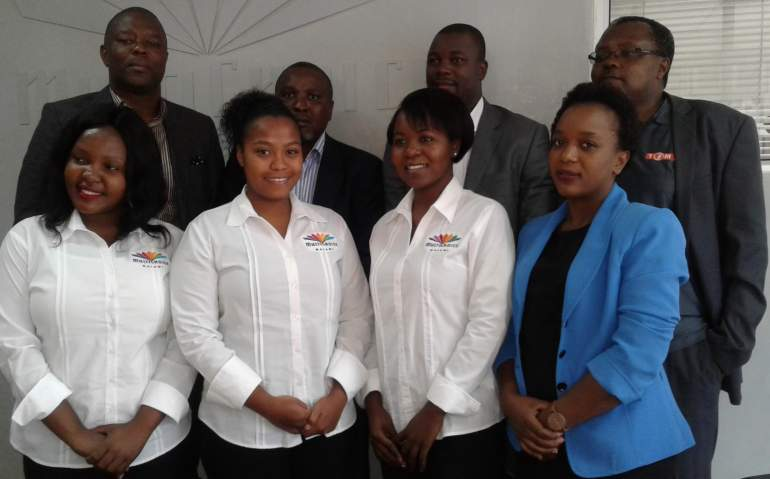 Kazako (back first from left) with Multichoice staff and fellow media managers from Times radio after the launch
