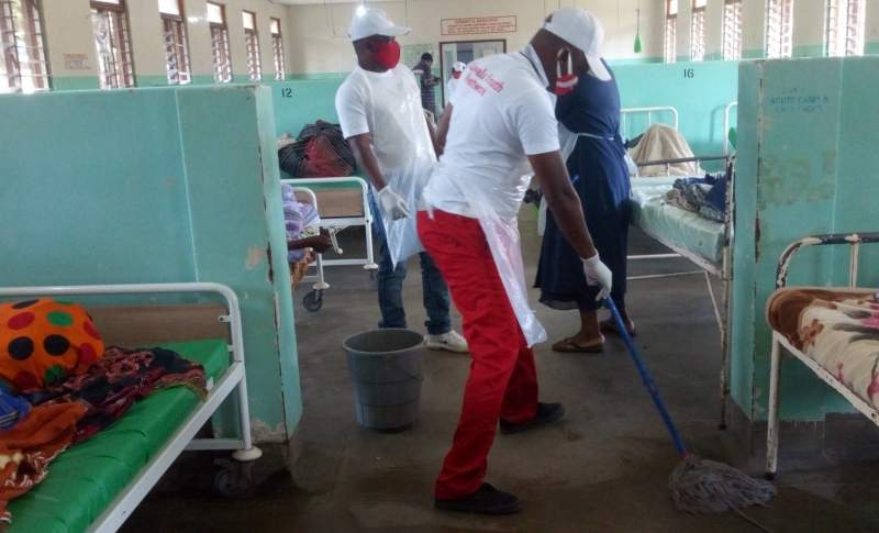 The youth also mopped the hospital